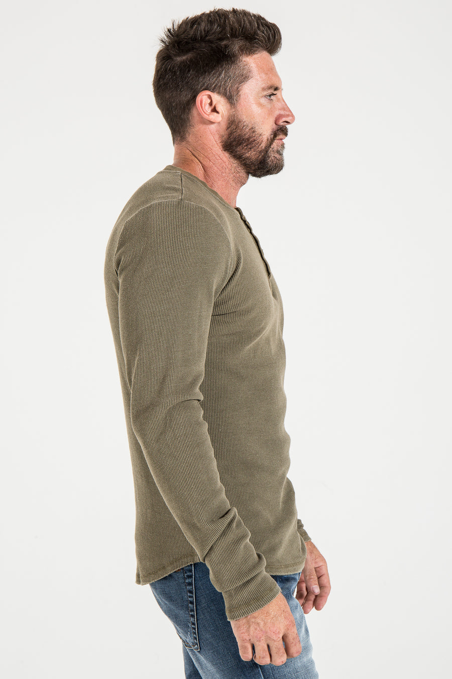HENLEY SLIM IN DARK OLIVE THERMAL KNIT