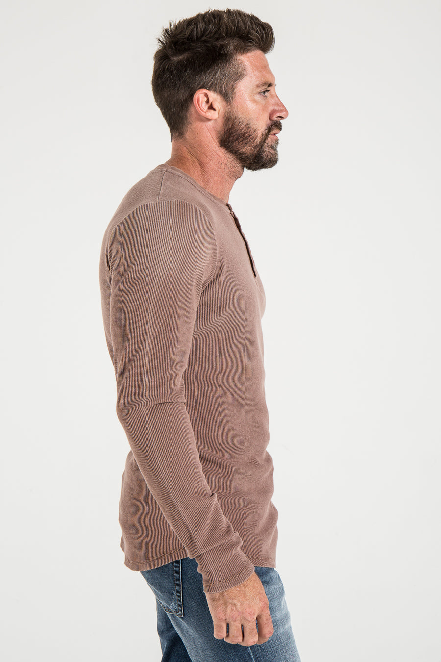 HENLEY SLIM IN DEEP TAUPE THERMAL KNIT