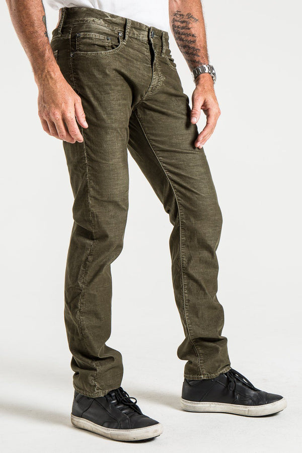 BARFLY SLIM CORD PANTS IN GRENADE