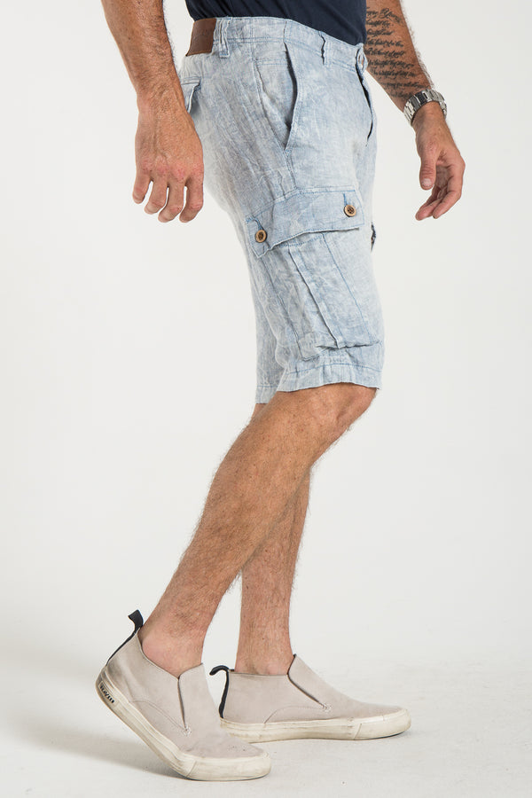 CARGO LINEN SHORT IN CHAMBRAY & ECRU