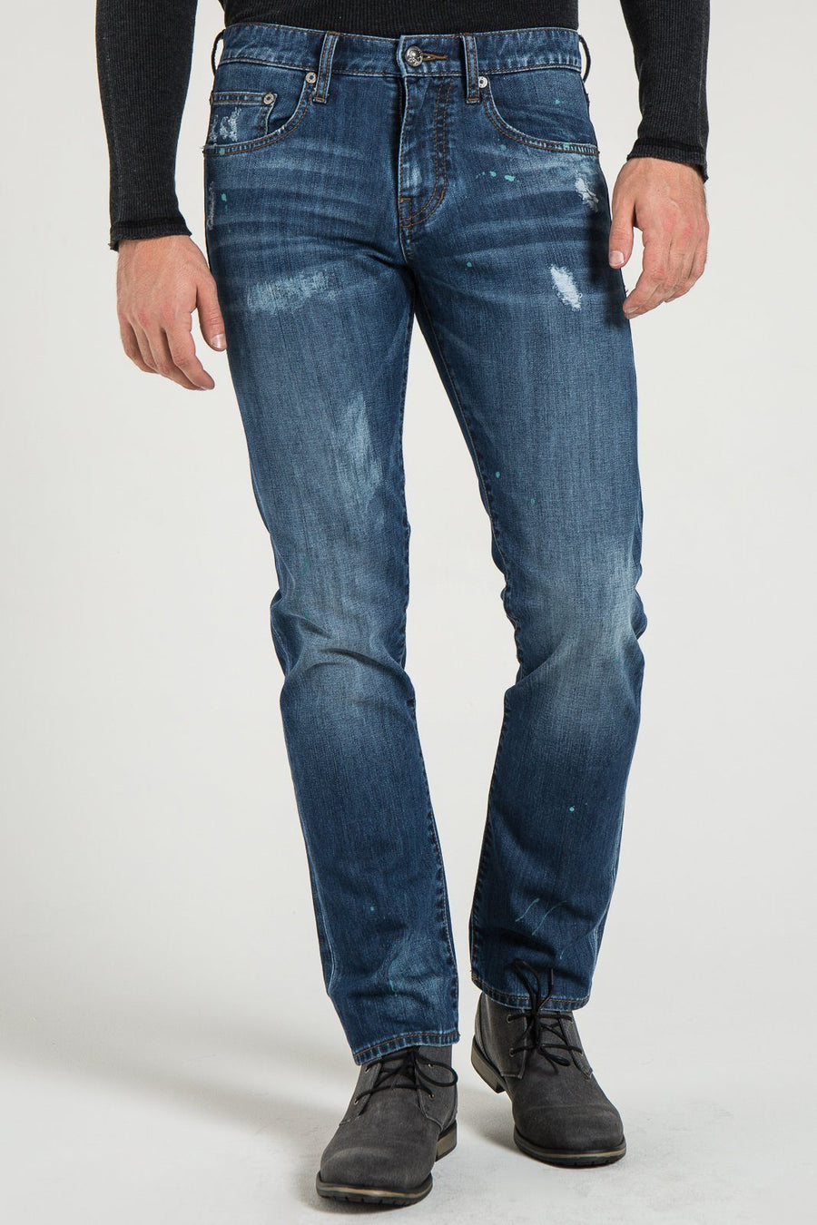BARFLY SLIM IN DILLON DISTRESSED DENIM