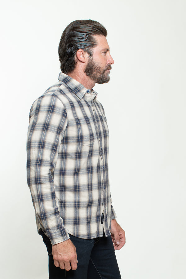 WOVEN PLAID SHIRT IN RINSE