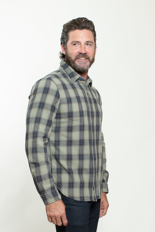 WOVEN PLAID SHIRT IN GREY TINT