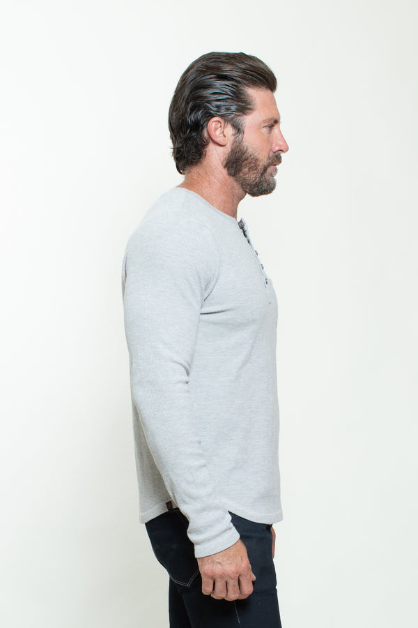 KNITTED HENLEY T-SHIRT IN HEATHER