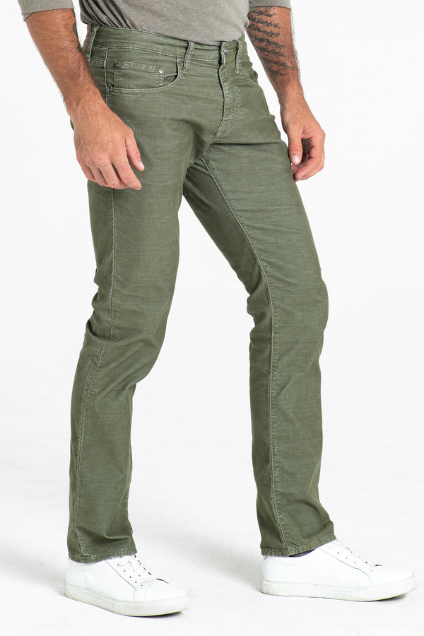 BARFLY SLIM CORD PANTS IN MOSS