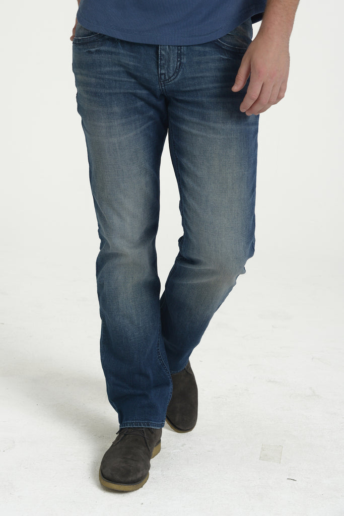TEXAS STRAIGHT DENIM PANTS IN WASTED BLUES