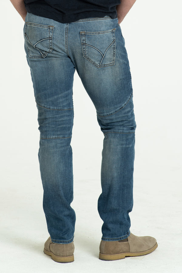 MOTO DENIM PANTS IN WASTED BLUES