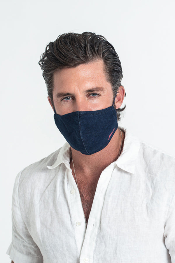 CLOTH MASK IN INDIGO / BLACK