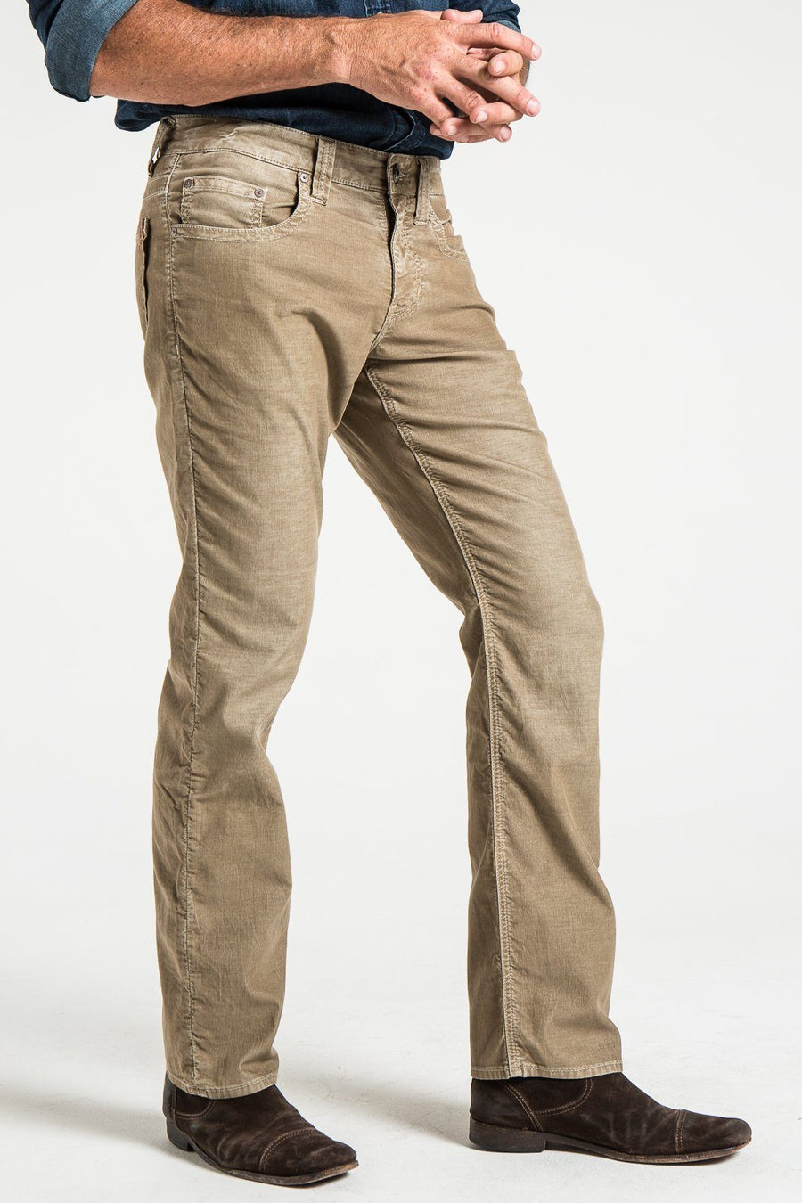 Corduroy jeans rustic man close up front view