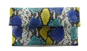 Python & Snakeskin Clutch - Blue Yellow Motif | Urban Story