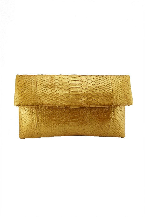 Mandalay Solid Gold Foldover Clutch