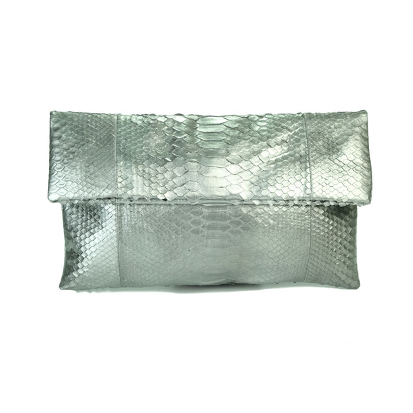 Mandalay Liquid Silver Foldover Clutch