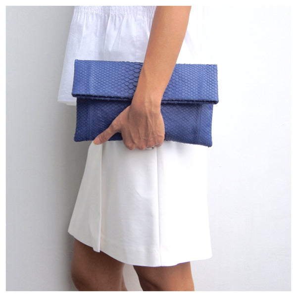 Mandalay Denim Blue Python Foldover Clutch Styled