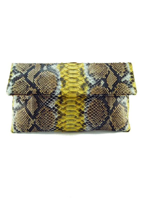 Mandalay Brown Yellow Motif Foldover Clutch
