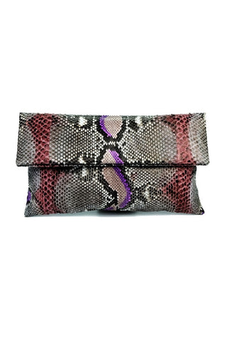 Mandalay Brown Lilac Motif Foldover Clutch