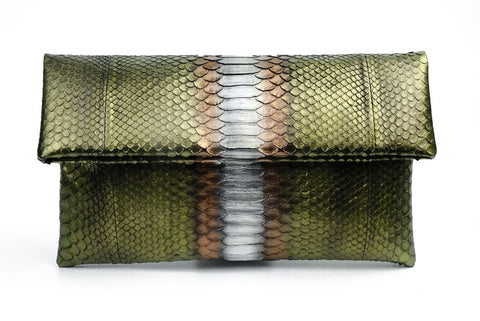 Mandalay Metallic Olive Foldover Clutch