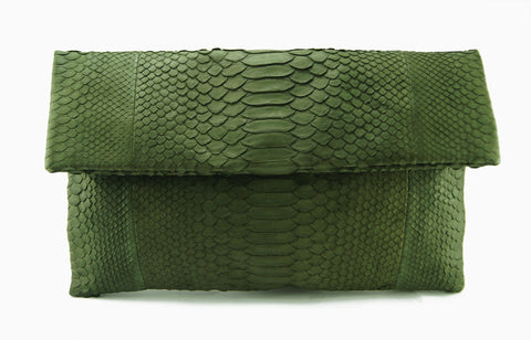 Mandalay Olive Python Foldover Clutch Front