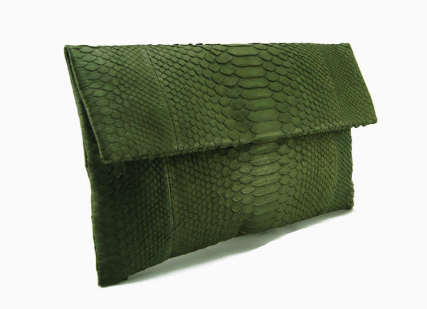 Mandalay Olive Python Foldover Clutch Side