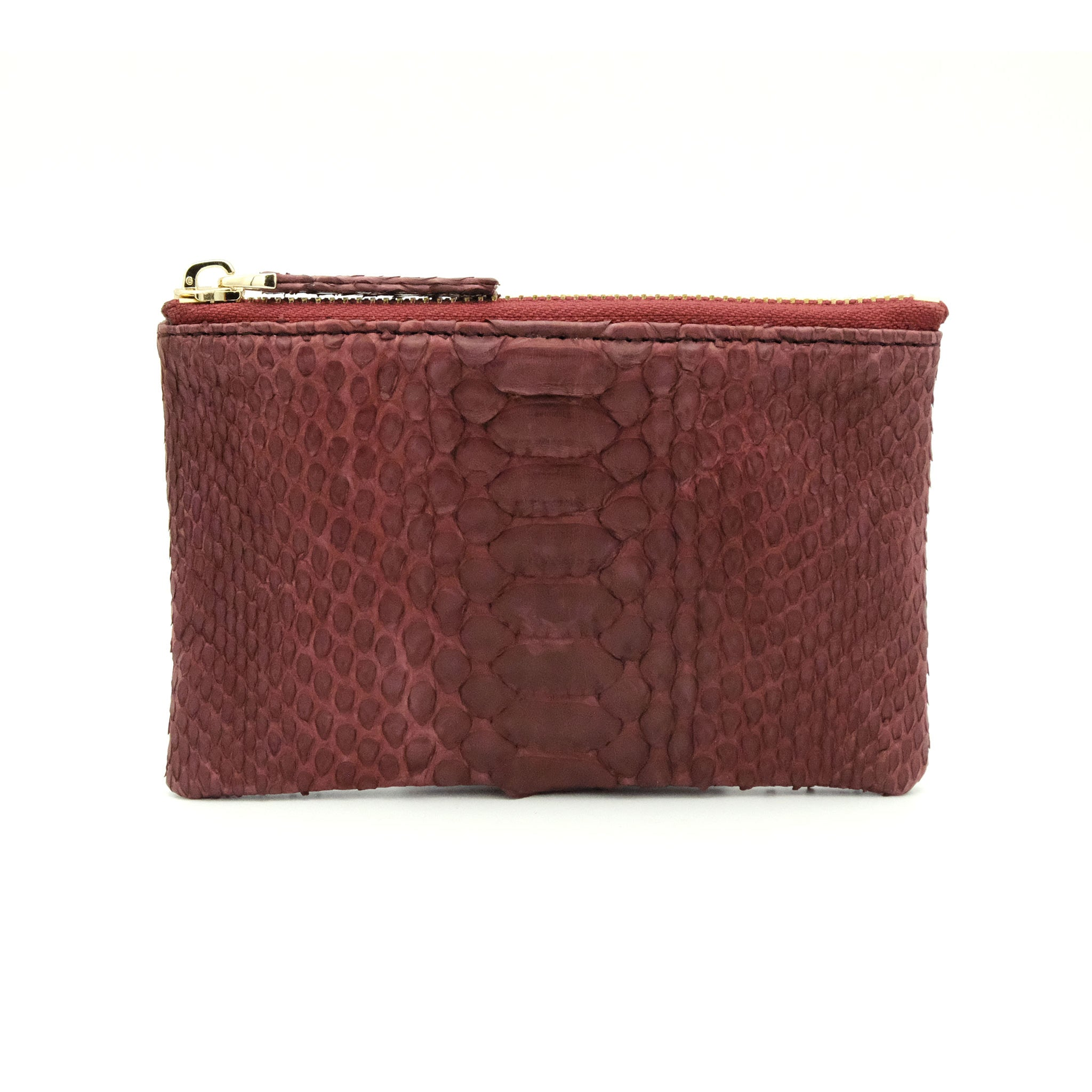 Snakeskin & Python Maroon Coin Purse or Zip Pouch | Urban Story