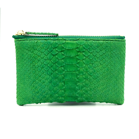 Snakeskin & Python Bright Green Coin Purse or Zip Pouch | Urban Story