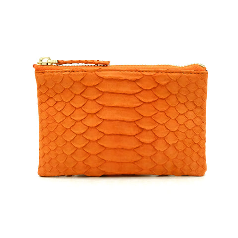 Snakeskin & Python Orange Coin Purse or Zip Pouch | Urban Story