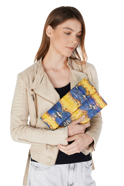 Mandalay Denim Canary Motif Foldover Clutch