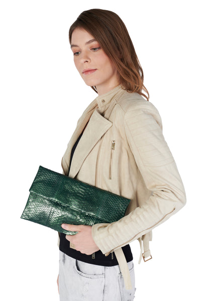 Mandalay Metallic Moss Foldover Clutch