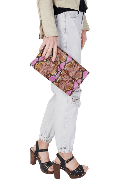 Mandalay Pink Orange Motif Foldover Clutch