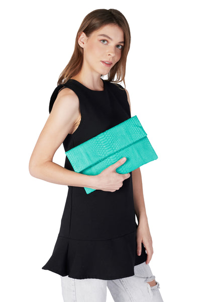 Mandalay Aquamarine Foldover Clutch