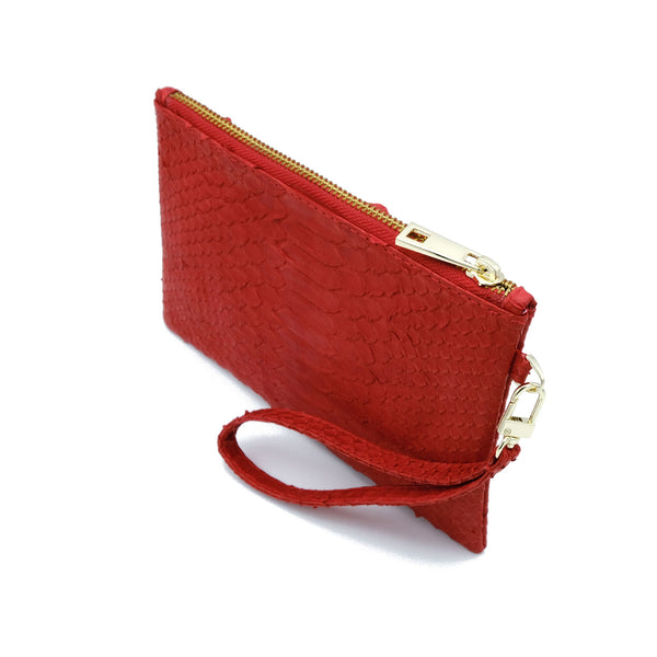 Snakeskin & Python Wristlet Pouch - Red | Urban Story