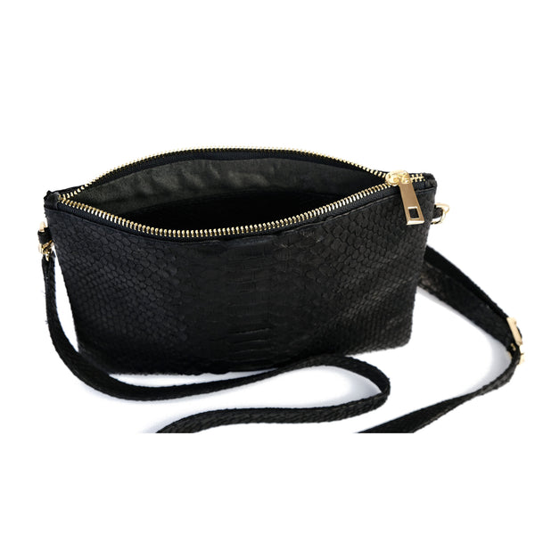Snakeskin & Python Crossbody Sling bag - Black | Urban Story