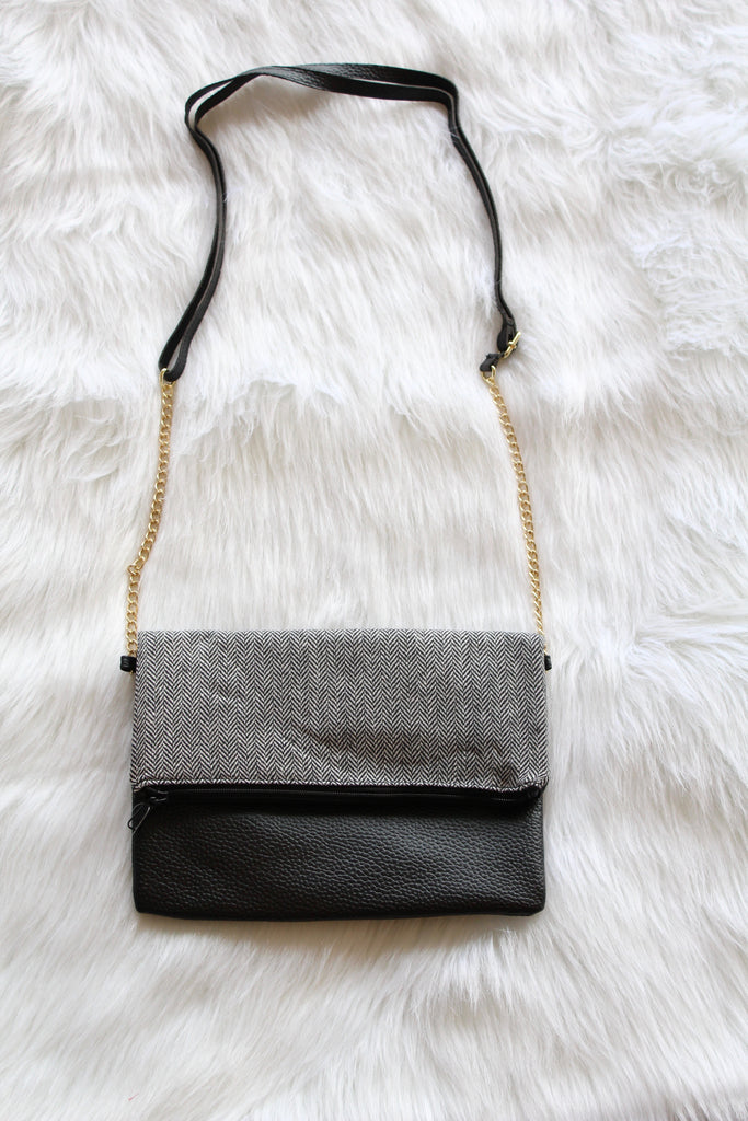 Herringbone Cross Body Bag In Black