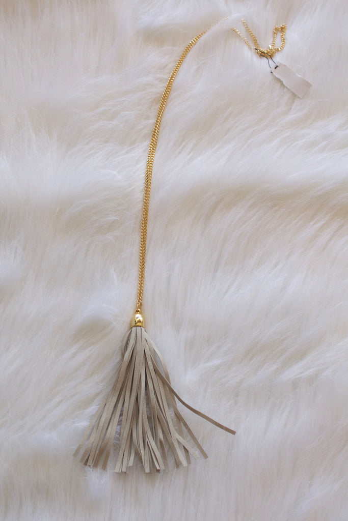Gray Suede Tassel Necklace