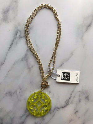 Scroll Two Way Necklace Gold Green