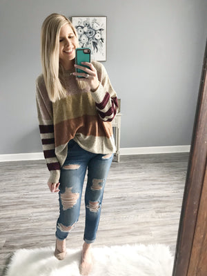 Apricot Striped Sweater