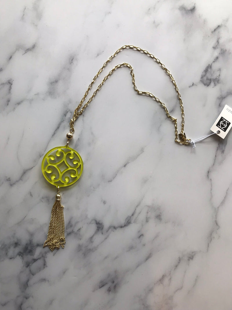 Lime & Gold Scroll Tassel Necklace