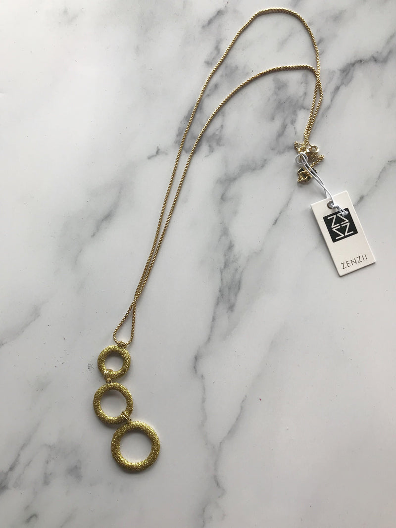 Gold Triple Circle Necklace