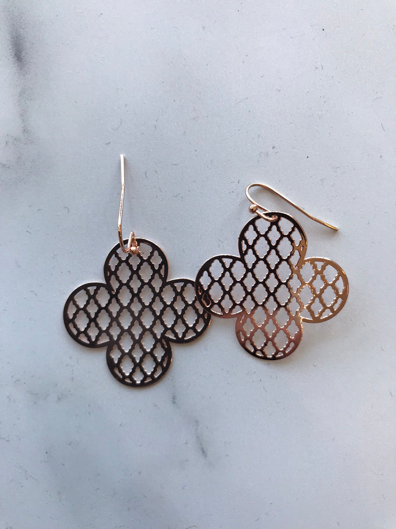 Rose Quatrefoil Earrings