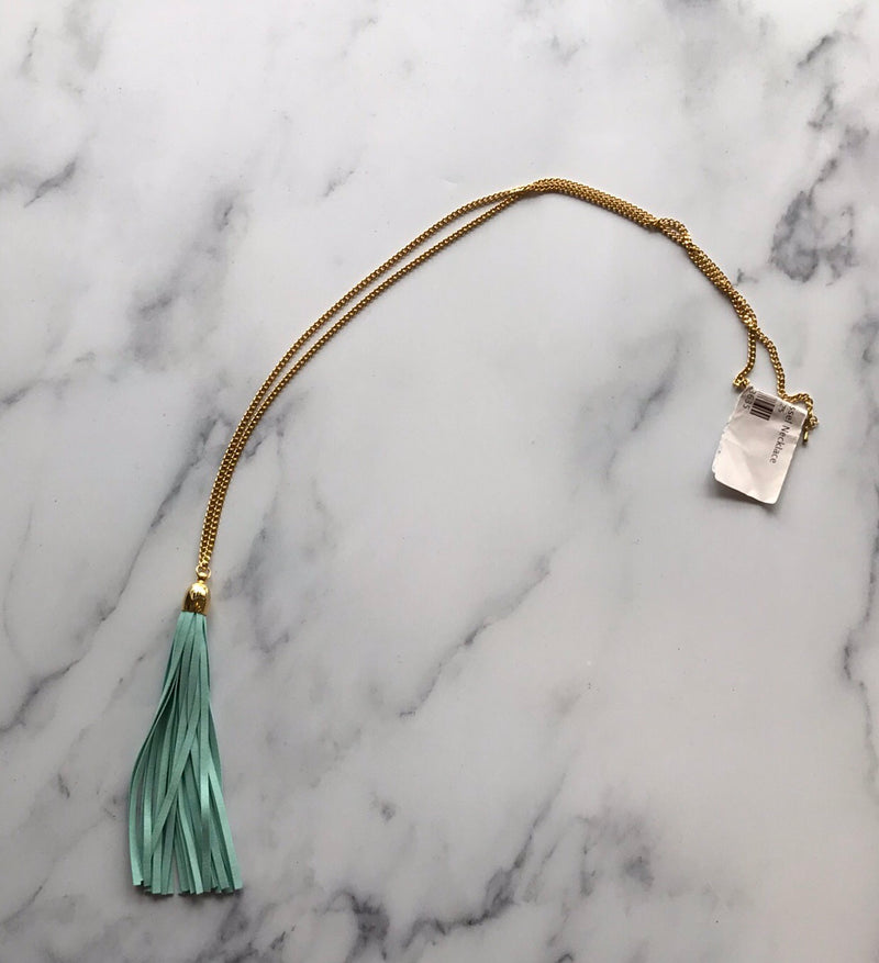 Mint Suede Tassel Necklace