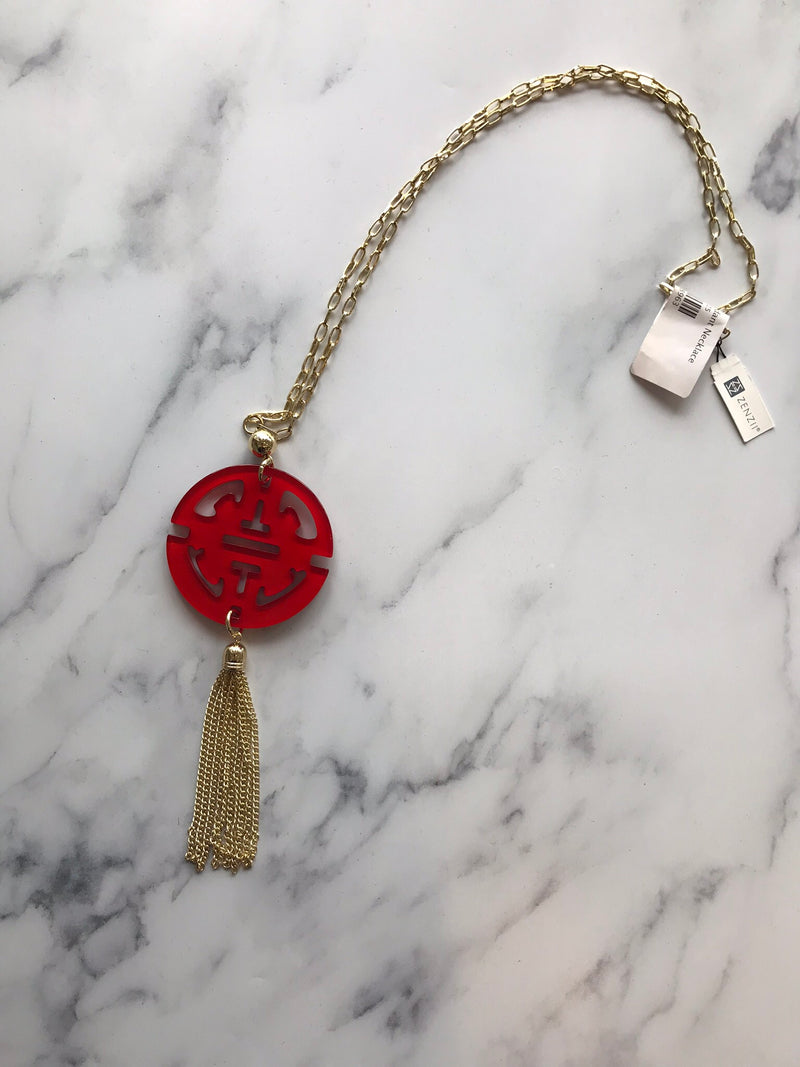Red & Gold Pendant Necklace