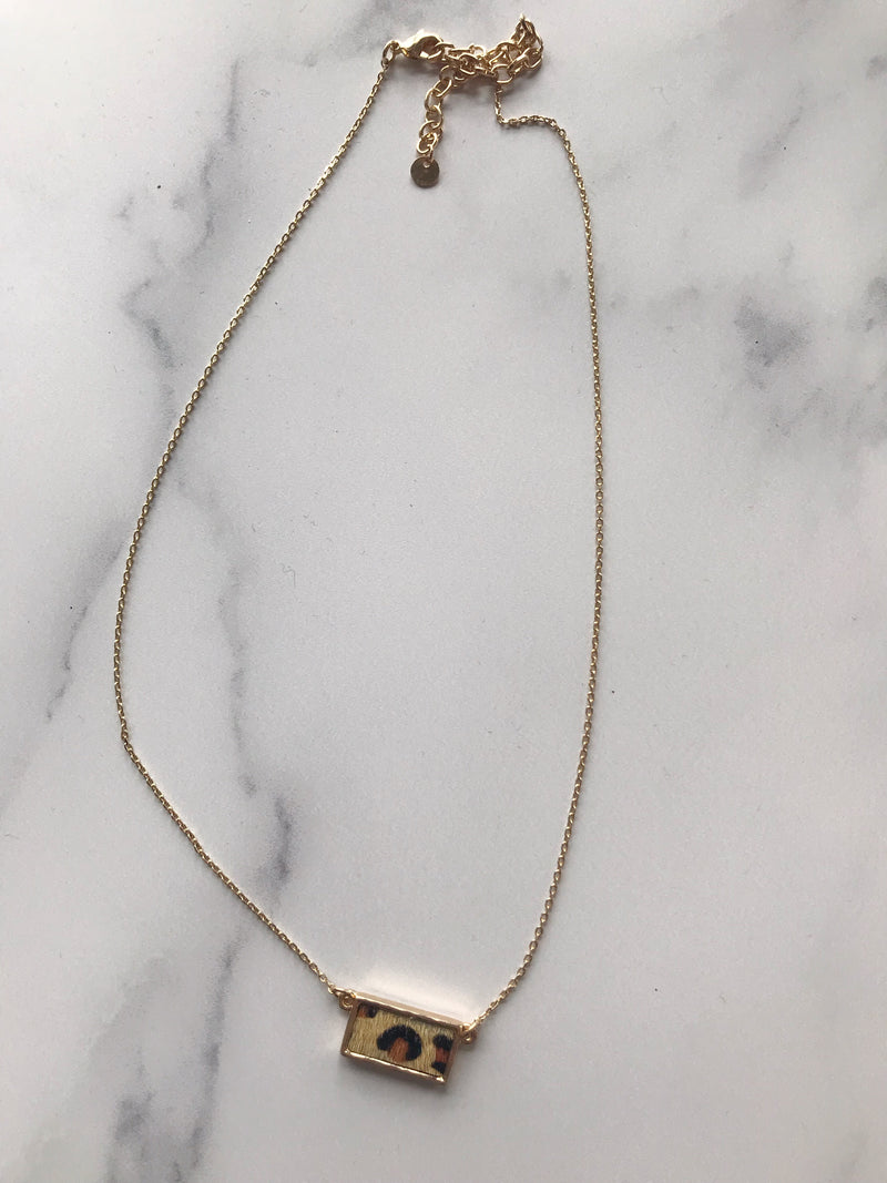 Dainty Cheetah Choker Necklace (Rectangle)