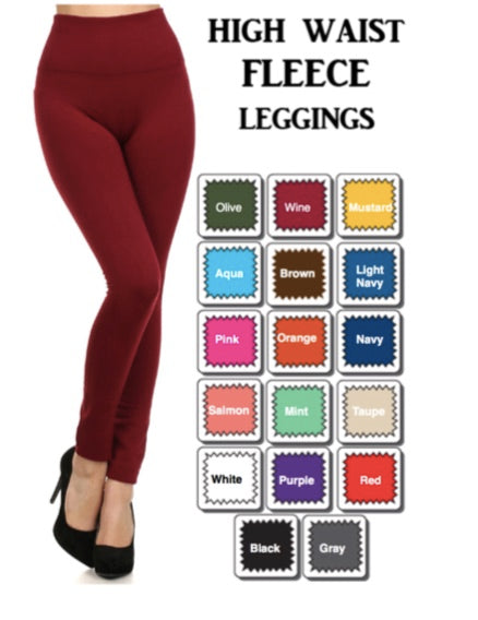 High Waisted Fleece Leggings
