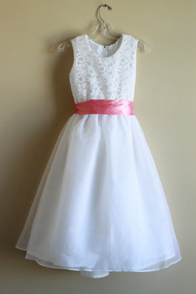 Flower Girl Lace with Pink Sash