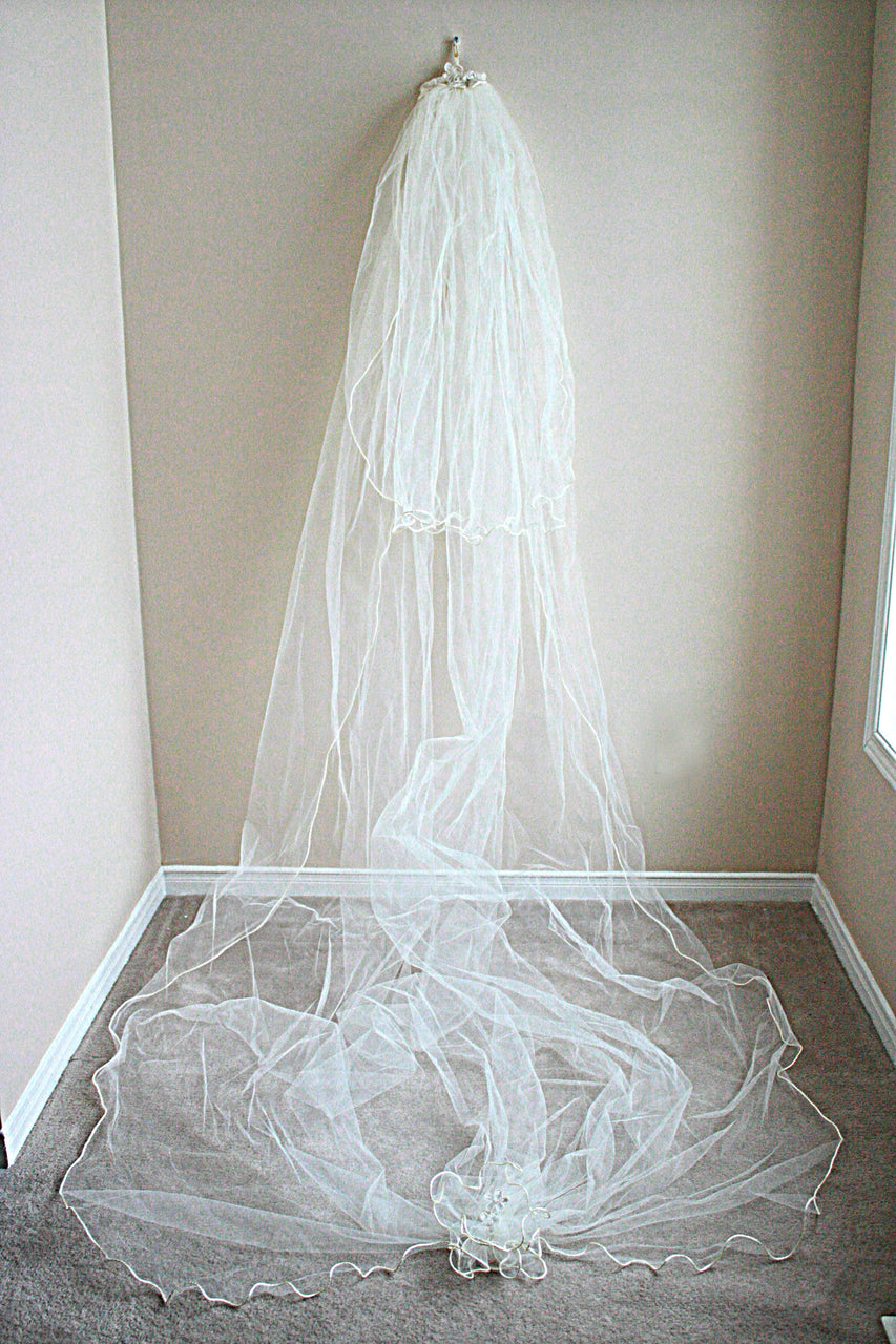 Cathedral Length Veil with Detail