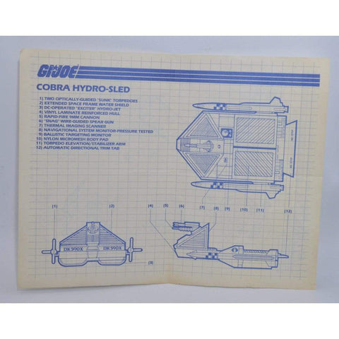 Hasbro Parts 1986 Hydro Sled Blueprints