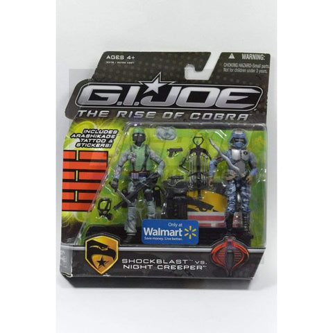 Image of Hasbro G.I. Joe Carded Shockblast vs Night Creeper (Walmart) (2009)