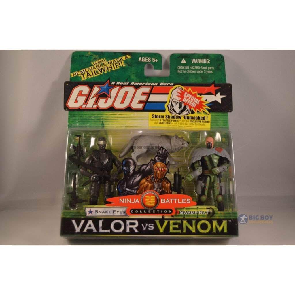 Hasbro G.I. Joe Carded Valor vs Venom 2 pack Snake Eyes & Swamp Rat (2004)