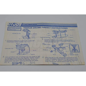 Hasbro Parts 1986 Terror Drome Firebat Blueprints