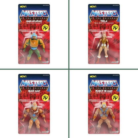 Super7 MOTU Masters of the Universe Vintage Wave 2 Set - Robot He-Man, Beast Man, Man-At-Arms, Teela