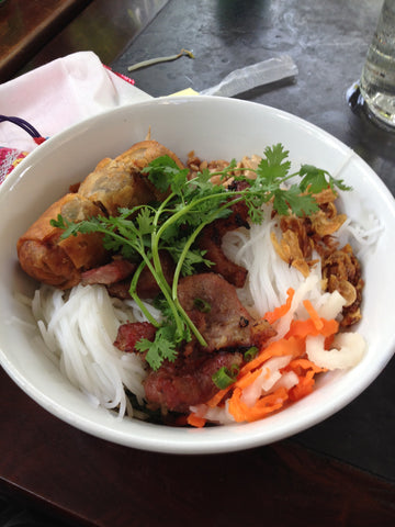 Vermicelli noddles with BBQ meat